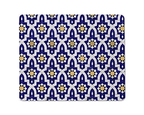 Yeuss Arabische stijl Rechthoekige anti-slip Mousepad Op basis van traditionele oosterse tegels. Vintage veelkleurig patroon in Turkije, Marokko Gaming muismat 200mm x 240mm