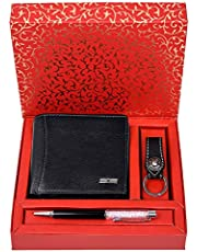 Urban Forest Gift Hamper - Classic Men's Leather Wallet, Black Keyring and Rakhi Combo Gift Set for Brother