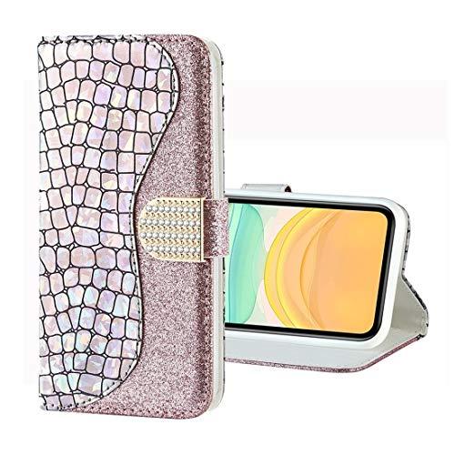 Für iPhone 11 Fall for iPhone 11 Pro Laser Glitter Puder Krokodil Textur...