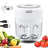 Electric Mini Garlic Chopper, MichPong Wireless Portable Mini Food Chopper Electric Mini Chopper Seasoning & Spice Choppers for Garlic/Onions/Vegetables/Salad/Pepper (White, 250ML)