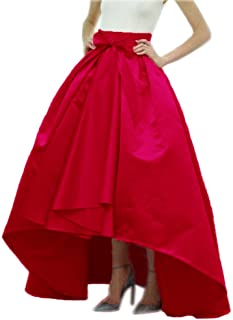 Lisong Women's Taffeta Bowknot High-Low Prom Party Skirt