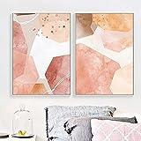 Lienzo Decoración de Pared Rosa Forma geométrica Pintura Cartel para el hogar Imagen Impresa Sala de Estar Resumen Escandinavo 2 Piezas 50x70 cm / 19.7'x 27.6' Sin Marco