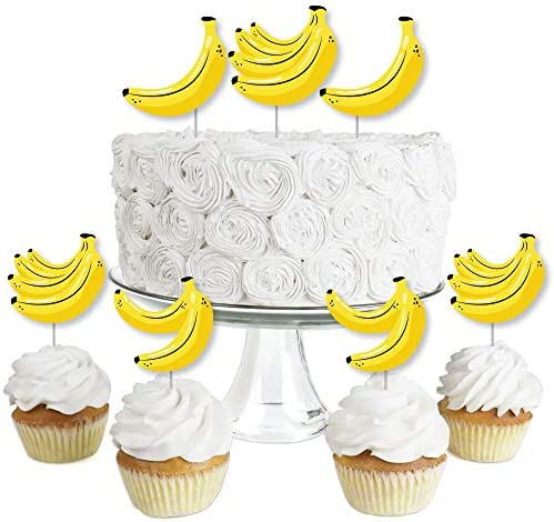 Let s Go Bananas Dessert Cupcake Toppers Tropical Party Clear Treat Picks Set of 24 product image