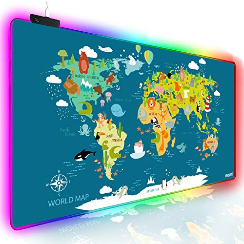 rnairni RGB Soft Gaming Mouse Pad Large, Oversized Glowing Led Extended Mousepad ,Non-Slip Rubber Base Computer Keyboard Pad Mat,31.5X 15.8in (Cartoon World Map)