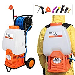 Petra Battery Backpack Sprayer With Custom Fitted Cart and 100 Foot Commercial Hose