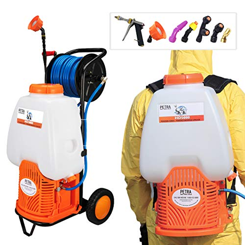 PetraTools Battery Backpack Sprayer with Custom Fitted Cart and 100 Foot Commercial Hose, 2 Hoses Included, Commercial Quality Heavy Duty Sprayer (HD5000 6.5-Gallon with Reel Cart)