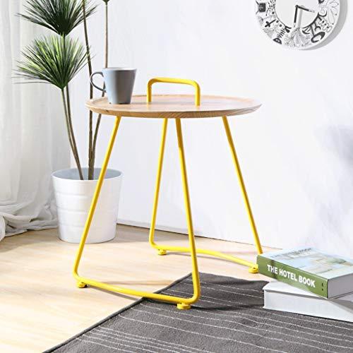 Main Table Basse Table Basse en Métal Et Bois Table D'appoint Ronde Travail Petit Thé Jaune Convient pour Salon Canapé Thé Après-midi