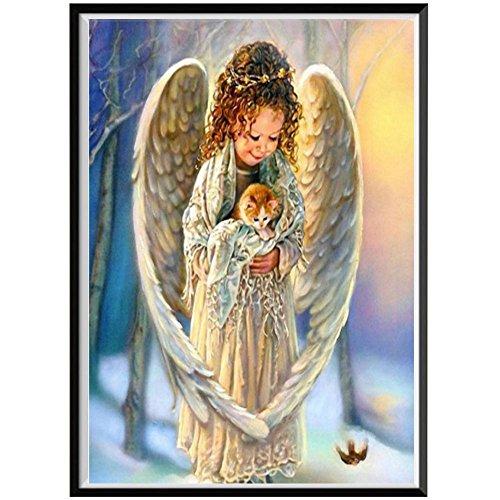 5d diy pintura de diamante punto de cruz ángel religioso bordado de diamantes chica paisaje etiqueta de la pared pintura de mosaico de diamantes A19 30x40cm