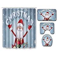 サンタクロースクリスマスシャワーカーテンセット、12のフックバスマットトイレ蓋カバー浴室装飾のための滑り止めマット敷物、清潔な清掃が簡単3pcs~50 * 80cm santa3-3pcs~50cm