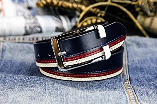 GTUQ Cinturón Cinturón Blanco de Dos Capas de los Hombres del cinturón Hombres del cinturón Hombres del cinturón de la Hebilla Casual de los Hombres del Cintur