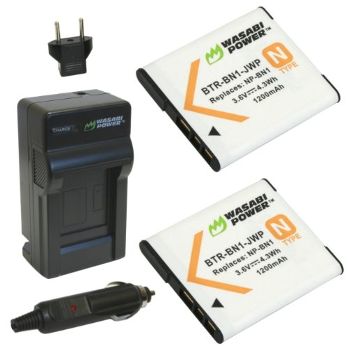 Wasabi Power Battery (2-Pack) and Charger for Sony NP-BN1 and Sony Cyber-shot DSC-QX10, DSC-QX100, DSC-T99, DSC-T110, DSC-TF1, DSC-TX5, DSC-TX7, DSC-TX9, DSC-TX10, DSC-TX20, DSC-TX30, DSC-TX55, DSC-TX66, DSC-TX100V, DSC-TX200V, DSC-W310, DSC-W320, DSC-W330, DSC-W350, DSC-W360, DSC-W380, DSC-W390, DSC-W510, DSC-W515PS, DSC-W520, DSC-W530, DSC-W550, DSC-W560, DSC-W570, DSC-W580, DSC-W610, DSC-W620, DSC-W650, DSC-W690, DSC-W710, DSC-W730, DSC-W810, DSC-W830, DSC-WX5, DSC-WX7, DSC-WX9, DSC-WX30, DSC-WX50, DSC-WX70, DSC-WX80, DSC-WX150