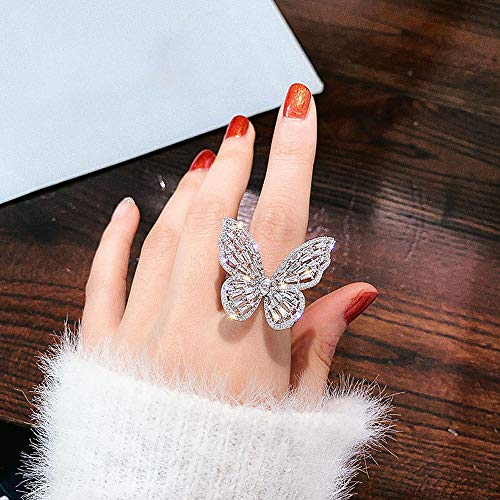 MZY1188 Crystal Rings for Women, Open Adjustable Shine Butterfly Rings Weddings Party Jewelry Gifts, Silver/Pink Color Jewelry Accessories for grils