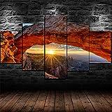 Yumeng® - Lienzo 5 Piezas Moderno Cuadro En Lienzo 5 Piezas Salón De Hogardecoracion De Pared Paisaje del Parque Nacional de Arcos Utah (Enmarcado)| 150x80cm