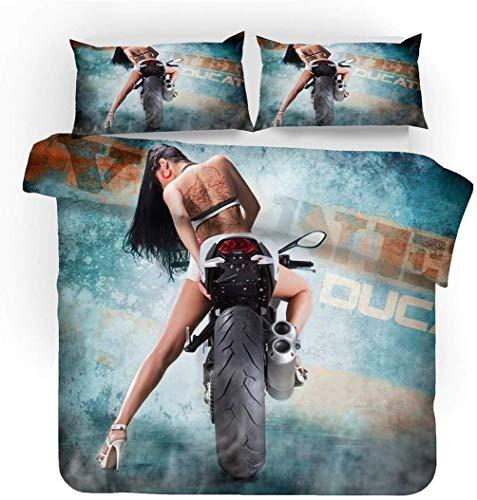 AMCYT Bedding Set 3D Motorrad Bettbezug, Leidenschaft Und Geschwindigkeit, Sport Stil Bettbezug Und Kissenbezug Für Kinder Jungs Mann (1,200 * 200)