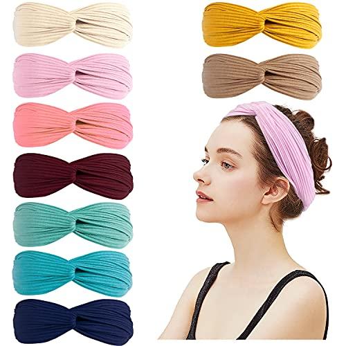 Amandir 9 Pack Knotted Headbands for Women Girls Non Slip Fashion Boho Headbands Elastic Cross Knot Cute Wide Workout Yoga Turban Headband Hair Accessories, Set of 03