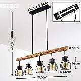 Pendelleuchte Gondo, Hängelampe aus Metall/Holz in Schwarz/Braun, 5-flammig, 5 x E27 max. 40 Watt, moderne Hängeleuchte geeignet für LED Leuchtmittel - 3