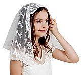 Flowergirl French Lace Headband Soft Headwrap Head Covering Church Vei F06 (Ivory veil)