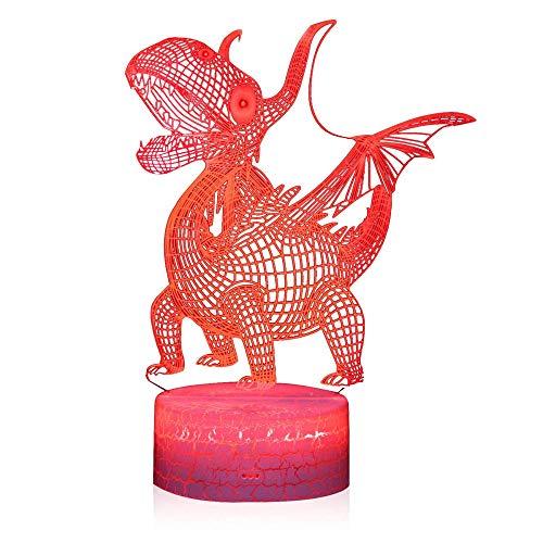 3D ilusión noche luz para niños regalo de cumpleaños Pterosauria 16 colores cambiantes lámpara de escritorio nueva 3D LED noche luces LED táctil remoto y 16 colores cambiables