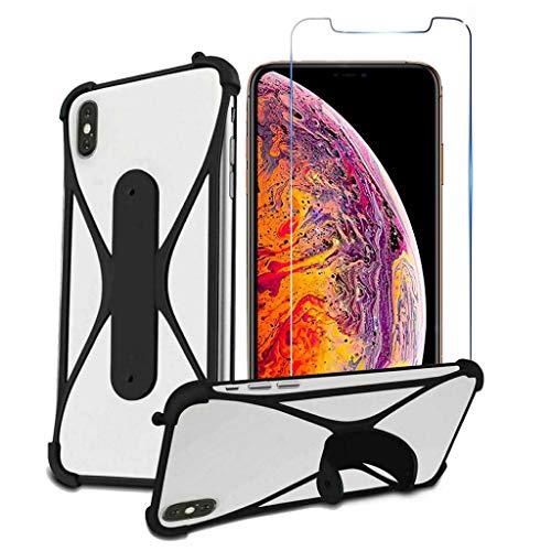i-Tronixs Schutzhülle für LG Optimus G Pro Lite Dualcover & stoßdämpfende Schale aus Silikon, Standfunktion, Bildschirmschutzfolie aus gehärtetem Glas, 14 cm, Schwarz