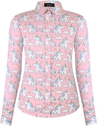 Dokkia Damen Oberteil Tropische Casual Blusen Lange Ärmel Arbeit Floral Kleid Strand Aloha Hawaii Shirt Gr. XXL, Einhorn Gifts Pink Star