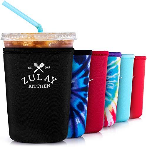 Zulay Wiederverwendbare Eiskaffeehülle aus Neopren, mittlere Größe, für Starbucks, McDonalds, Dunkin Donuts und mehr, Schwarz