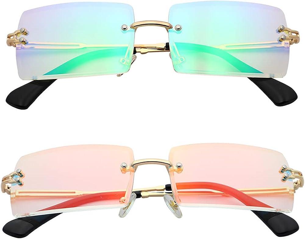Manufacturer direct delivery LASPOR 2pcs Rectangle Rimless Sunglasses for Women Men Vintage Selling R
