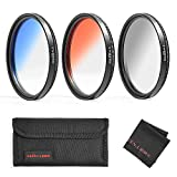 GREEN.L Color Filter Set 58mm Graduated Gray Orange Blue Filter Slim Adjustable Filter with Filter Pouch Cleaning Coth
