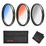 62mm Color Filters Kit, GREEN.L Slim Adjustable Graduated Gray/Orange/Blue with Lens Fil...