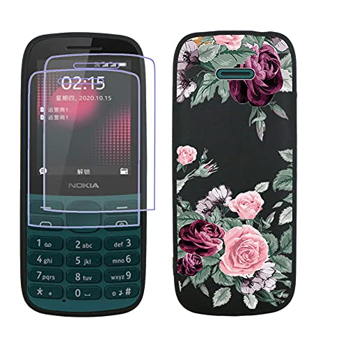JIENI Funda para Nokia 215 4G Case + 2 Piezas Cristal Templado Pantalla (2.4'), Black Carcasa Silicona Antigolpes Caver Caso HD Vidrio Pantalla Película Protectora -Rosa roja