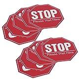 HERCHR 2 Juegos de Pegatinas de señal de Stop, calcomanías de Advertencia de distanciamiento de Seguridad para Uso en áreas públicas, 7,9 x 7,9 Pulgadas