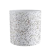 FaithLand Plant Pot 12 inch - Perfectly Fits Mid-Century Modern Plant Stand - Drainage Plug and Drainage Mesh Screen - Planter Pot, Speckled White