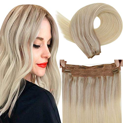 LaaVoo Halo Human Hair Extensions Blonde Halo Couture Hair Extensions Straight Halo Real Hairpiece Blonde One Piece Halo Extensions Balayage Ash Blonde Ombre Light Blonde and Platinum Blonde 16' 80g