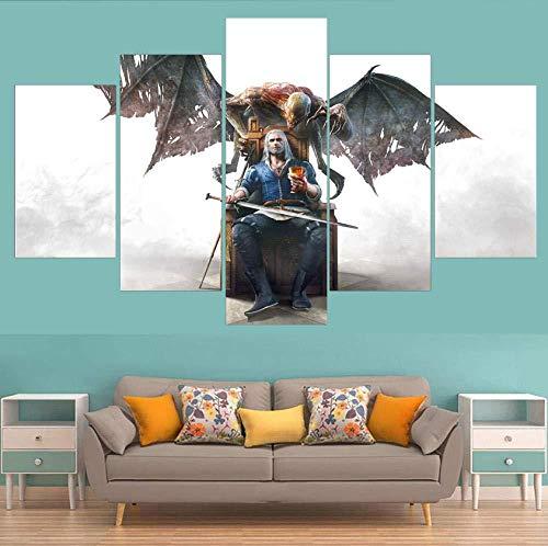 MEIPINPAI Kunstdrucke auf Leinwand, 5-teilig The Witcher Jagd Wilde Geralt Poster Spiel Leinwand Gemälde Wandkunst modern modular Wohnzimmer Dekoration