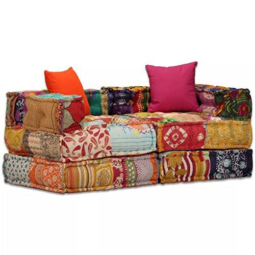 Festnight 2-Sitzer Modulares Schlafsofa Stoff Schlafcouch Patchwork Sofa Loungesofa für Wohnzimmer oder Schlafzimmer