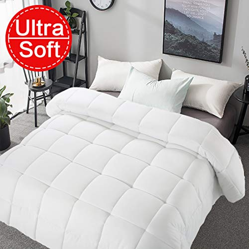 "Soft Smooth Comforter Queen Size All Seasons 2000 Series Lightweight Quilted Down Alternative Breathable White Comforter Duvet Insert With 8 Corner Tabs Breathable 3D Filling (White, Queen (88""x88""))"