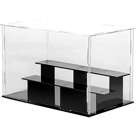 Lanscoeeフィギュアケース アクリルケース ディスプレイケース コレクションケース ショーケース 飾りケース ケース フィギュア 展示ケース 透明 台座 模型 人形 ひな壇 陳列 アクリル (台座黒, 3階 24x14x16cm)