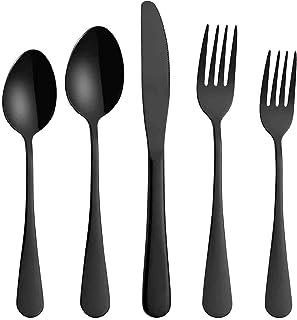 مجموعة أدوات السكاكين، مجموعة من 5 قطع الفولاذ المقاوم للصدأ أطباق مجموعة بما في ذلك سكين/شوكة/ملعقة/ملعقة صغيرة، غرامة مر...