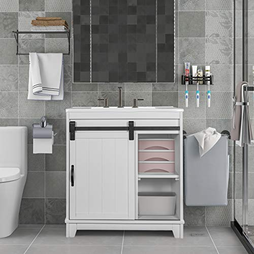 PovKeever Free-Standing Bathroom Vanity with Sliding Bars Door and White Sink, Vanity Sink Combo, Storage Vanity Cabinet, Bathroom Sink, Fully Assembled Except for The Door(White)