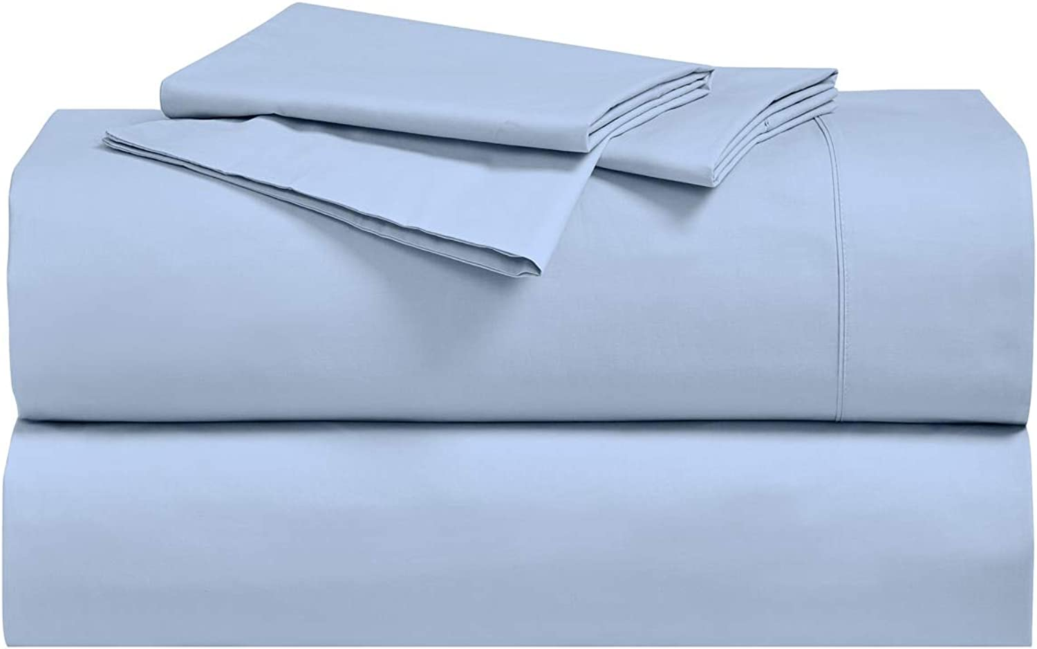 Royal's Solid bluee 250-Thread-Count 4pc King Bed Sheet Set 100-Percent Cotton, Superior Percale Weave, Crispy Soft, Deep Pocket, 100% Cotton