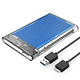 ORICO 2.5インチ HDDケース USB3.0 ハードディスクケース SSDケース SATA3.0 ドライブケース 全透明筐体 PC材質 静電気防止 UASP対応 5Gbps高速 9.5mm/7mm 両対応 4TBまで 工具不要 アルミパネル 2179U3-BL