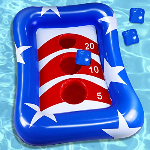 iGeeKid 36  Inflatable Pool Ring Toss Games American Flag Swimming Pool Toys Floating Toss Game for Kids Adults Float Cornhole Board Summer Pool Party Water Carnival Outdoor Beach Toys(3 Beanbags)