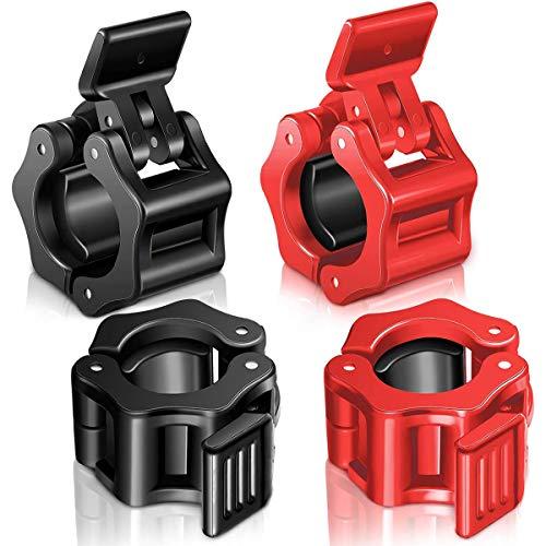 4 Pezzi Collari Bilanciere 28mm Clip Morsetti Collare per Trasversale Fitness Sollevamento Pesi e Forniture per Allenamento Palestra, con Sgancio Rapido, Anti Scivolo Accessori Bilanciere Olimpico