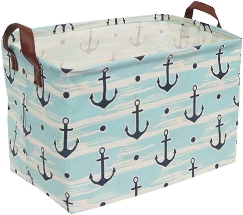 Rectangular Canvas Storage Bins Waterproof Storage Basket Collapsible Toy Organizer Bin With Handles For Clothes Storage Kid S Toy Box Book Bag Blue Anchor