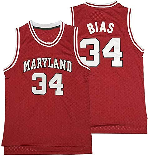 Stitching Len 34 Bias Maryland Terrapins Movie Basketball Jerseys Mens S-XXXL (Red,XXL)