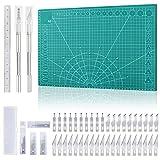 Miuzei Schneidematte Set A3 (45 x 30 cm) mit 40stk Bastelmesser und Stahllineal,Selbstheilende Bastelunterlage Schneideunterlage Cutting Mat Basteln Zeichenunterlage Bastelskalpell Bastelmatte (Grün)