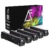 5 tóneres Alphafax compatibles con HP Laserjet Pro 200 Color MFP M276nw M276n M251n M251nw Compatible con HP CF210X CF211A CF212A CF213A - Negro 2.400 páginas Cada uno, Color 1.800 páginas Cada uno