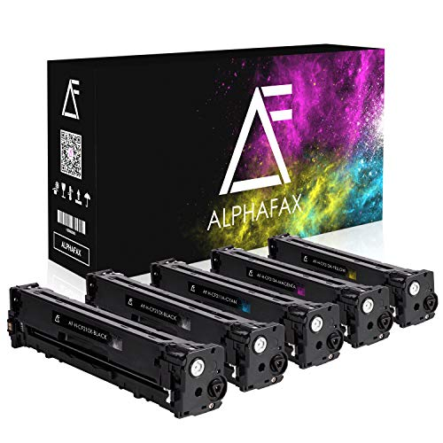 5 Alphafax Toner für HP Laserjet Pro 200 Color MFP M276nw M276n M251n M251nw kompatibel zu HP CF210X CF211A CF212A CF213A - Schwarz je 2.400 Seiten, Color je 1.800 Seiten