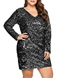 IN'VOLAND Womens Sequin Dress Plus Size V Neck Party Cocktail Sparkle Glitter Evening Stretchy Mini Bodycon Dresses Silver