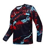 Downhill Cycling Jersey Men's Racing Jersey Long Sleeve MTB Cycling Clothing Mountain Bike Shirt, S-072, Medium