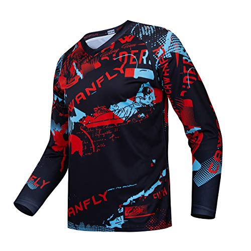 Downhill Cycling Jersey Men's Racing Jersey Long Sleeve MTB Cycling Clothing Mountain Bike Shirt, S-072, XXX-Large